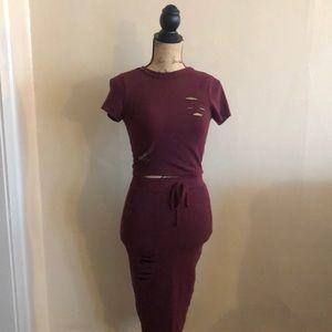 (Burgundy Red) Two piece set from Fashion Nova